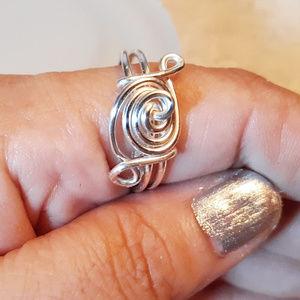 Handmade Silver Swirl Ring - 4 Large Hands SZ 1o.5